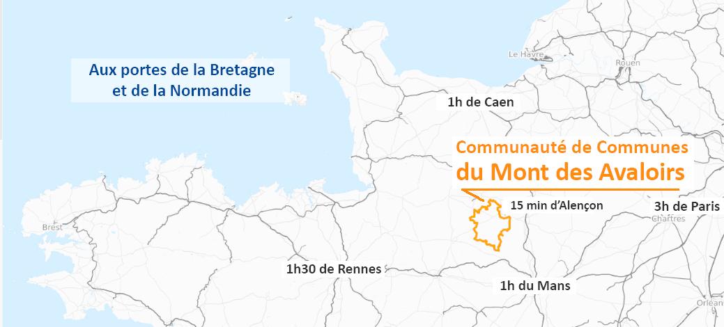 Situation géographique Communauté de Communes du Mont des Avaloirs (Mayenne 53)