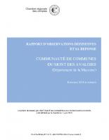 Rapport de la Chambre Régionale des Comptes – 11 juin 2019