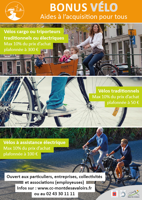 Affiche bonus vélo 2020 Communauté de Communes du Mont des Avaloirs