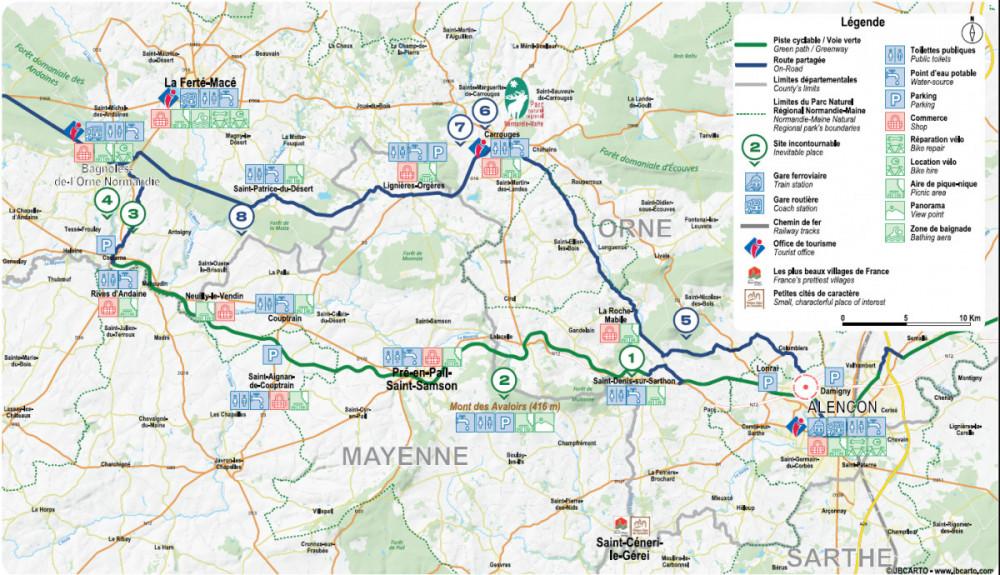 Carte voie verte Alençon - Pré-en-Pail-Rives d'Andaines @JB Carto